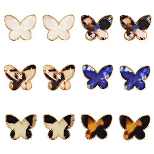 Best Time6 Farbe Acetat Schmetterling Ohrringe Temperament Persönlichkeit Übertrieben Ohrringe Einfache Mode Weibliche Geschenke