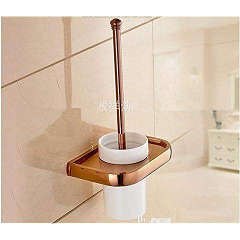 Latón sólido de estilo europeo antiguo baño aseo Brush set wc cepillo de cerámica wc rack montaje en pared cepillo sanitario wc cepillo titular de vidrio wc portacepillos