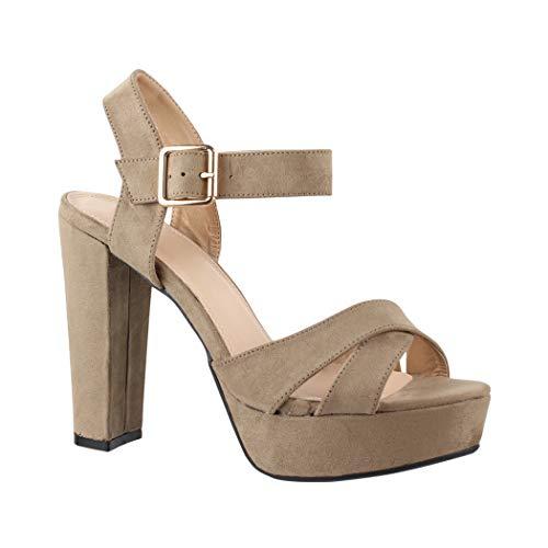 Elara Damen Pumps | Bequeme Peep-Toe Pumps | Trendige Plateau High Heels | Chunkyrayan LM-001 Green-39 (Green Toe Schuhe)
