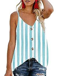 e9c542499dbedf Yidarton Women's Summer Casual Loose V Neck Chiffon Button Down Spaghetti  Strap Cami Vest Solid Color Floral Striped Tank Tops Sleeveless…