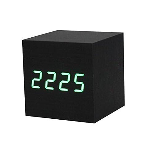 IMJONO 1PC Digitale LED Schwarz hölzern Holz Schreibtisch Alarm Braun Uhr Stimme Steuern (Grün)