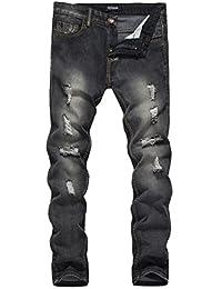 Winwintom 2018 Décontractée Trou Style Vintage Jeans Hommes Slim Ajustement  Droit Denim Style Vintage avec cassé e5df72118a8
