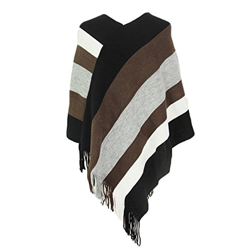 Sfit Femme Cape Manteau Sweater Pull Tops Manches Longues Pullover Tricot Rayure avec Frange Casual Café