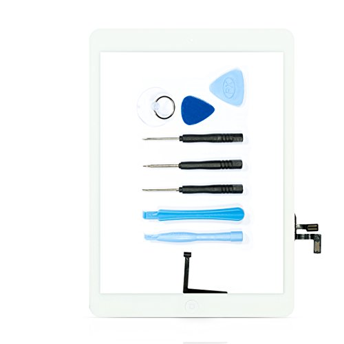 teparto Digitizer für iPad Air mit Homebutton inkl. Werkzeugset und Kleber vormontiert weiß