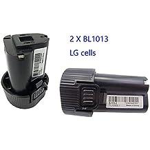 2x 10,8V 1500mAh BL1013 Para la batería de la herramienta eléctrica de Makita BL1013 194550-6 194551-4 (las nuevas células de LG hechas, alta calidad)