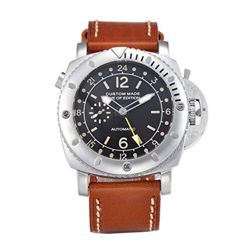 PARNIS-mm 9502 GMT Exclusive deutsche Edition Herrenuhr Automatik-Uhr 47mm Edelstahl Leder Mineralglas 5BAR Seagull Uhrwerk mit zweiter Zeitzone