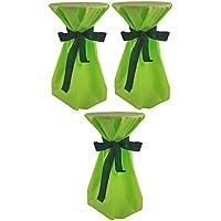 Sensalux, 3 Stehtischüberwürfe (nicht genäht) abwischbar - (Farbe nach Wahl), Überwurf apfelgrün Schleifenband grün, Tischdurchmesser 60-70 cm, die preisgünstige Alternative zur Husse