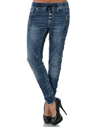Damen Boyfriend Jeans Hose Reißverschluss Knopfleiste No 14201, Farbe:Blau;Größe:36 / S