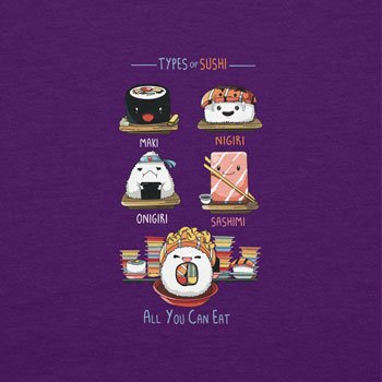 NERDO - Types Of Sushi - Herren T-Shirt Violett