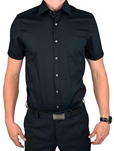 OLYMP LEVEL FIVE body fit halbarm New York Kent Kragen Uni schwarz 6090/12/68, schwarz, Gr. 43 (XL)