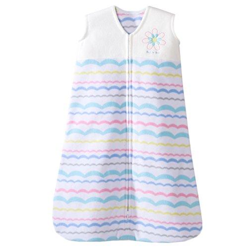HALO SleepSack Micro Fleece Wearable Blanket, Pink Ribbon Pom Poms, Medium by Halo (Ribbon-fleece Pink)
