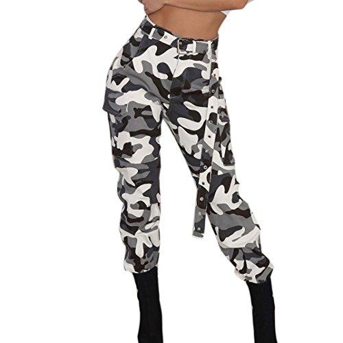 Huihong Womens Casual Camouflage Hose Baggy Hip Hop Rock Hose Tanz Cargo Jogger Sweat Pants Hose KüHle Straße Hose S-5XL (Weiß mit Gürtel, XL)