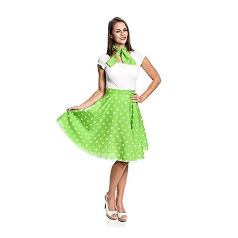 Kostümplanet® Rock-n Roll Rock Kostüm grün weiß gepunkteter Rock knielang mit passendem Schal Halstuch Tellerrock 50er Jahre Stil Mode Kostüm Rockabilly Damen Outfit Polka