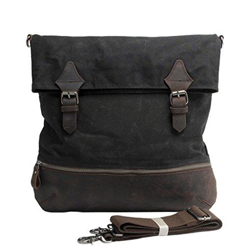 FAIRY COUPLE Unisex Canvas Leder Messenger Umhängetasche für Reise Hochschule Ausflug Camping Laptop Schultertasche C3001,dunkel grau schwarz