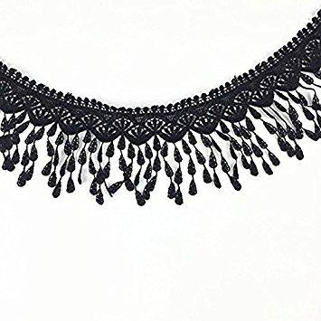 Ultnice schwarzes Spitzenband, Quasten, Bordüre, Nähen, bestickte Spitze, Besatz, 2,7 Meter.