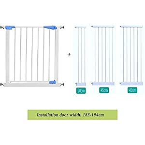 Child Safety gate - Free Punching - Height 76cm - Installed on The Stairway/Kitchen Door - Baby/pet Isolation Door - Blue ccgdgft (Size : 185-194CM)   3