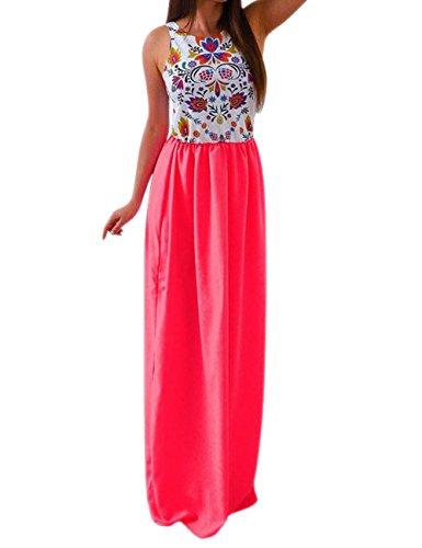 La Cabina Femme Sexy Maxi Robe Longue Tunique Floral Bohémienne pour Plage Eté Rouge