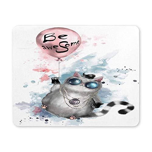 Luancrop Katze in den runden Gläsern ist Fantastische rutschfeste GummiMousepad Spiel-Mausunterlage