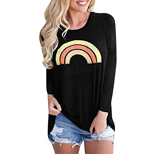 OSYARD Damen Rainbow Drucken Rundhalsausschnitt Langarm Sweatshirts, Frauen Casual Graphic Rainbow...