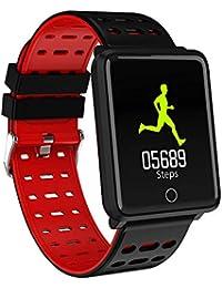 Hicoco Pulsera Actividad, Reloj Pulsera Inteligente con Pulsómetro Pulsera Deportiva y Monitor, Ritmo Cardíaco Monitor, IP68 Actividad Impermeable para Nadar, Reloj Fitness Podómetro para (Rojo)