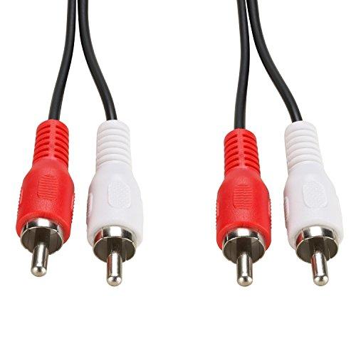 ecabo 0,5m Cinch-Kabel 2 Cinch auf 2 Cinch - Cinch Stecker RCA (rot/weiß) auf Cinch Stecker RCA (rot/weiß) - schwarz - für Hi-Fi, Stereo-Anlagen, Receiver, Audiogeräte