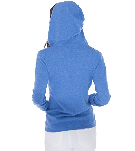 100% Kaschmir V-Ausschnitt Kordelzug Hoodie Pullover für Frauen - von CASHMERE 4 U (Small, Azure(Azurblau)) - 6