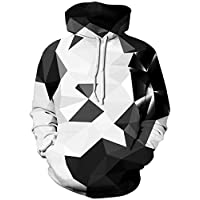 TUONROAD Mens Hoodie Cool Geometric 3D Printed Unisex Hoodies White Lightweight Hooded Jumper Comfortable Pullover Jacket Long Sleeve Hoody Tops Casual Sweatshirt Drawstring Costume with Pockets - S/M
