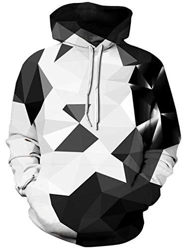 TUONROAD Felpe con Cappuccio Uomo Geometrico 3D Stampato Hoodie Unisex Pullover Sweatshirt con Tasche Coulisse Felpe Uomo - S/M