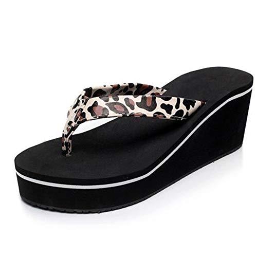 QY Hausschuhe Flip Flop Sandalen Frauen Sommer Pailletten Anti-Rutsch Sandalen Slipper Indoor & Outdoor Flip-Flops Hausschuhe (Color : Leopard, Size : EU39/UK6.5/CN40) T-bar Twist-clips