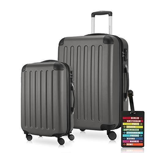 Hauptstadtkoffer - Spree - Koffer-Set (S und M) Trolley-Set Rollkoffer Hartschalen-Koffer Reisekoffer, sehr leicht, TSA, Graphit inkl. Design Kofferanhänger