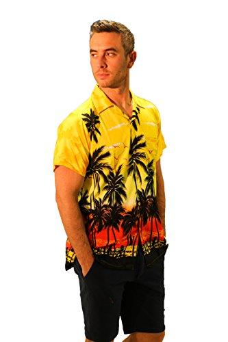 (Redstar Fancy Dress - Herren Hawaiihemd - kurzärmelig - Palmenmotiv - Verkleidung Junggesellenabschied - alle Größen - Gelb - XXL)
