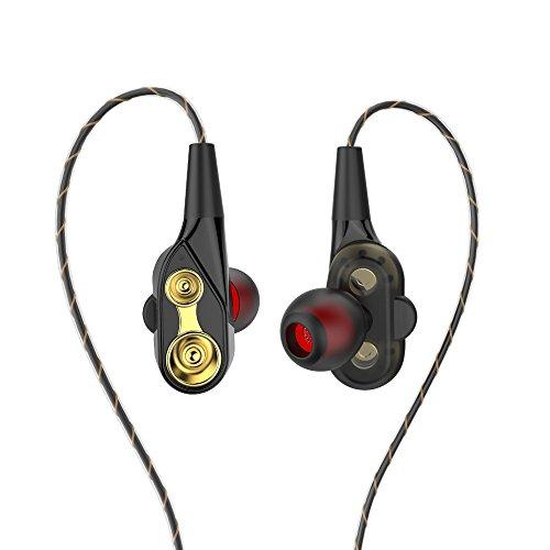 bescita In Ear Kopfhörer, Mini Doppeltreiber Ear Ohrhörer 2018 Metallisches Stereo Headset Earphones mit Ohrstöpseln und Mikrofon für iPhone, Huawei und Samsung und MP3 Players usw (Schwarz)
