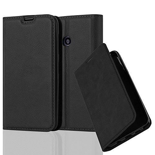 Cadorabo Hülle für Nokia Lumia 530 - Hülle in Nacht SCHWARZ – Handyhülle mit Magnetverschluss, Standfunktion und Kartenfach - Case Cover Schutzhülle Etui Tasche Book Klapp Style