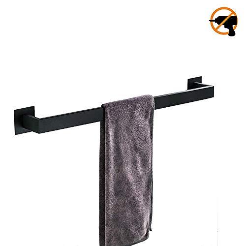 Toallero de barra de baño 40cm Negro mate SUS304 de acero inoxidable 3M autoadhesivo pulido accesorios de baño