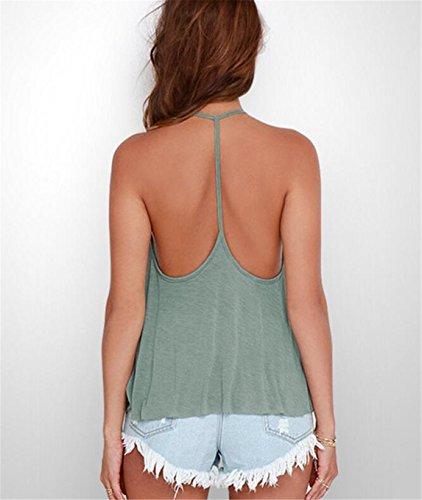 SHUNLIU Damen Sommer Tops T-shirt Schulterfrei Ärmellos Damen Tops T-Shirt Bluse Lose Tops Modern Einfarbig Tops Tshirt Oberteile Hellgrün