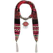 Lureme® bohemio gasa colgante étnico de labios con la bufanda de la borla Collar (01003365)