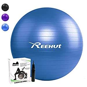 Reehut Anti-Burst Gymnastikball + Pumpe mit Belastbarkeit bis zu 500kg Core-Training Fitness Yoga Pilates Ball – 55 65 75 cm