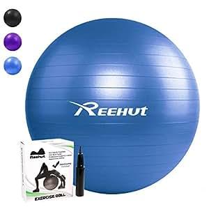 REEHUT Palla da Ginnastica Resistente Fino a 998kg Anti-Scoppio con Pompa per Fitness, Allenamento, Yoga e Pilates - 55CM, Blu
