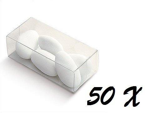 Irpot - 50 x scatola portaconfetti in plastica trasparente rettangolare 03750