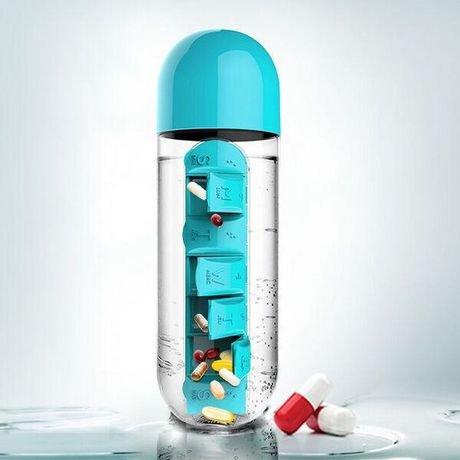 Okayji Plastic Pill Organizing Storage Bottle with Drinking Cup, 600ml, Blue