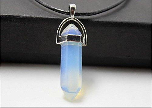 ILOVEDIY 3cm Collier Cristal de Roche Femme Quartz Ras de Cou Pendentif Hexagonal Pierre Cuir Reiki Chakra Healing Opal