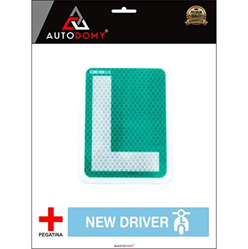 Autodomy Placa L Conductor Novel para Moto Ciclomotor Homologada Reflectante