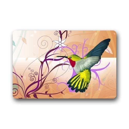 Hi,Doormat Custom Machine-Washable Door Mat Hummingbird with Flower Indoor/Outdoor Doormat 23.6 x 15.7 Inches Area Rugs Outside Door mats