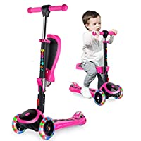 BELEEV 2 in 1 Scooter for Kids 3 Wheel Kick Scooter with Foldable Seat, Scooter Perfect for Toddler Girls & Boys Age 3+, Adjustable Height, LED Light Up Wheels for Children