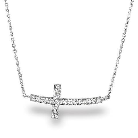 rhodium plaqué argent sterling 925CZ Faux Diamant Bords Croix Crucifix Chaîne Collier, 45,7cm