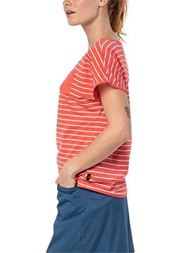 Jack Wolfskin Damen Reise gestreift T-Shirt Hot Coral Stripes