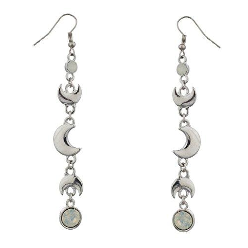 LUX Zubehör Silber Ton Crescent Moon und weiß Opal Stein baumeln (Tardis Diy Kostüm)