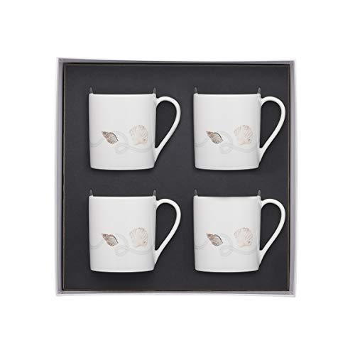 DEGRENNE 232390 Deauville Coffret 4 Mugs, Blanc