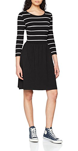 ONLY NOS Damen Kleid onlAMBER 3/4 FIT and Flair Dress NOOS Mehrfarbig (Black Stripes:Cloud Dancer) 38 (Herstellergröße: M)