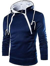 ¡Gran promoción!Rovinci para Hombre con Capucha de Moda Blusa de los Hombres Camiseta de Manga Larga otoño Invierno Camisa Caliente de la Cremallera Camiseta sólido con Capucha Outwear Blusa
